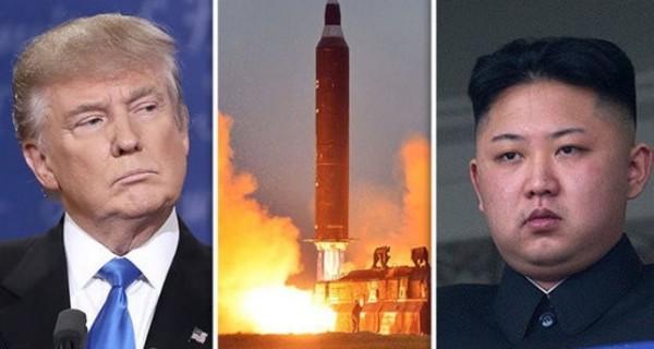 美國總統川普(左)跟北韓領導人金正恩( 右)互嗆,造成全球股市驚跌。(法新社)