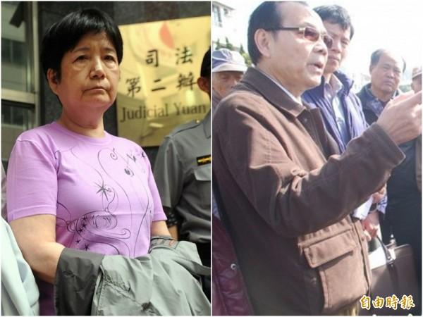 元大集團創辦人馬志玲之妻杜麗莊(左,資料照)、台中高分院前法官胡景彬(右,記者歐素美攝),今天假釋出監。