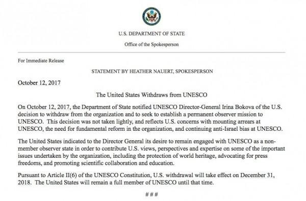 美國國務院表示,這並不是一項輕率的決定,反應美國不滿該組織對以色列存有偏見。(圖取自CBS NEWS推特)