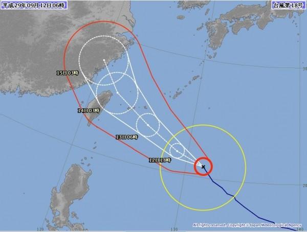 日本氣象廳也做出相同預報。(圖擷取自日本氣象廳)