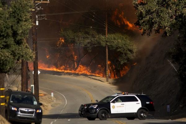 「伍爾西大火」同時也在南加州造成災情,已經燒毀3.5萬英畝(約141平方公里)的土地。(法新社)