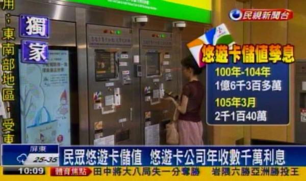 台北市議員陳建銘表示,既然這些儲值孳息都是消費者的錢,就應該直接回虧給消費者,而不是讓悠遊卡公司拿去作人情公關。(圖擷自民視新聞)