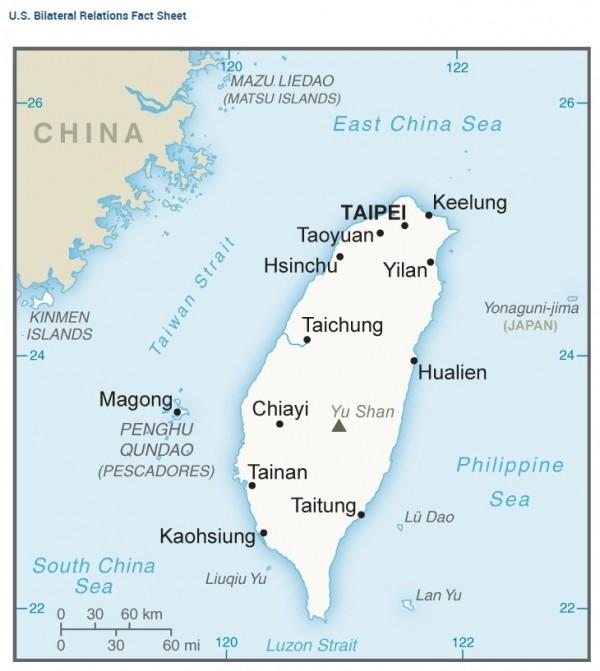 美國國務院網站的台灣簡介部分,採取另闢專頁的方式處理,並未列在中國的網頁內容;台灣和中國底色也不一樣。(擷取自美國國務院官網)
