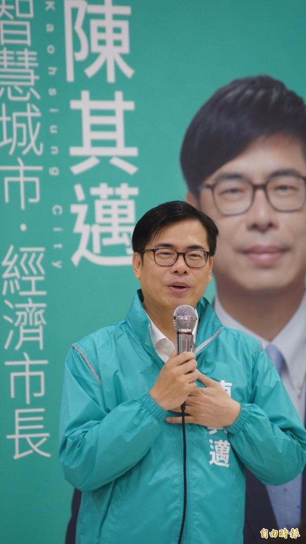 陳其邁表示,選市長應該要看政策牛肉,而非比肌肉。(資料照)