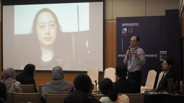行政院數位政務委員唐鳳,透過錄製影片再度打進聯合國會議中,向國際社會分享台灣經驗與台灣價值。(圖擷取自唐鳳臉書)