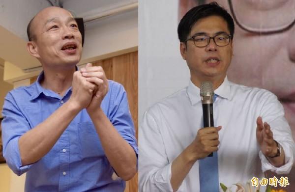 本報最新民調出爐,高雄市長選舉,民進黨參選人陳其邁(右)支持度38.46%,國民黨參選人韓國瑜(左)支持度26.32%,陳其邁領先12.14個百分點。(合成照)