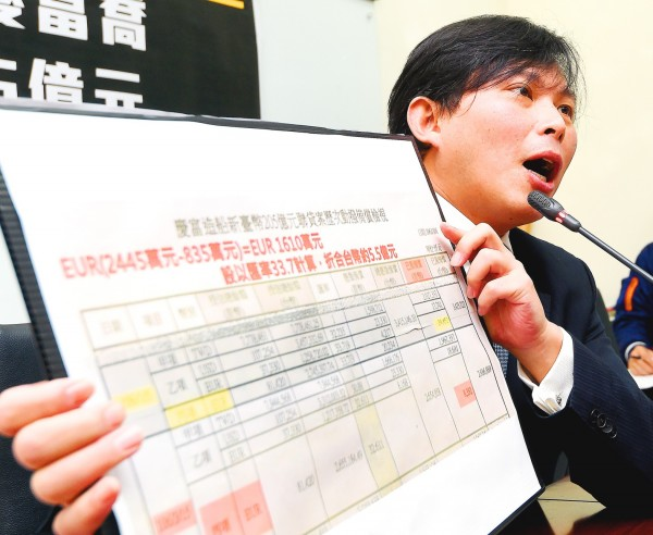 New Power Party Executive Chairman Huang Kuo-chang yesterday presents financial data regarding Ching Fu Shipbuilding Co's credit conditions at a news conference in Taipei. Photo: Chu Pei-hsiung, Taipei Times