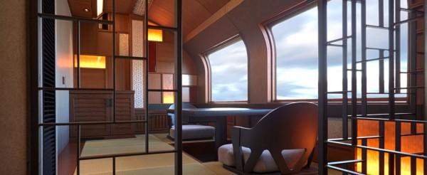 列車共10節,頭尾2節設有景觀窗,能讓乘客飽覽田野風光、夜色低垂等等的美景。(圖擷自四季島官網)