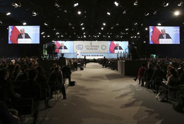 第24屆聯合國氣候變遷大會在波蘭舉行,有台灣青年在會議上發言自稱來自「中國台灣」。(美聯社)