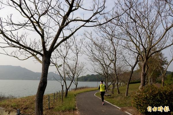 環阿公店水庫的自行車道景色優美,亦有不少遊客來此跑步或健行。(記者許麗娟攝)