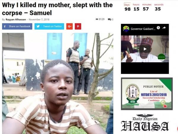 奈及利亚1名少年为了钱,听信巫师的话将母亲杀死,直到祖母在少年房间发现尸体,事件才被揭发。(翻摄每日奈及利亚)