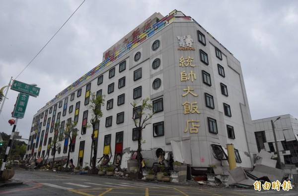 強震一度造成花蓮市區及美崙、新城地區高達4萬戶停水,經過台灣自來水公司搶修後,花蓮今日凌晨全面恢復供水。圖為統帥飯店。(資料照)