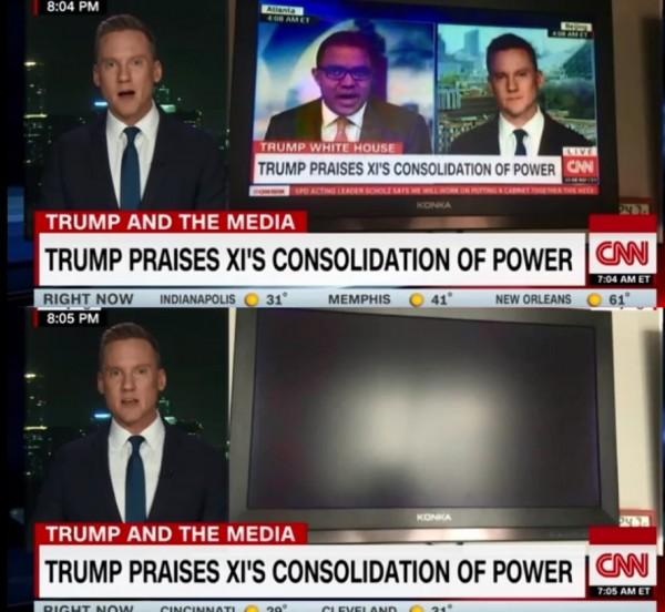 雷普利指出,中國的言論管制甚至切斷了CNN的訊號。(圖片擷取自CNN影片)