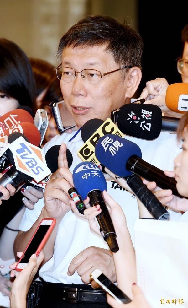 台北市長柯文哲說,北京每次抱怨對台灣讓利這麼多,結果台灣人民越跑越遠,這個李明哲事件就是問題。(記者朱沛雄攝)