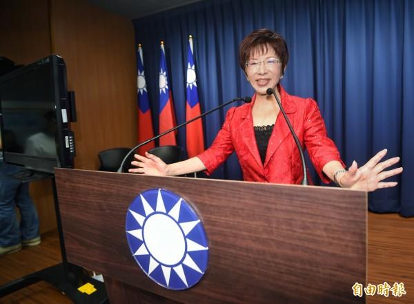 國民黨前主席洪秀柱悼念劉曉波,竟稱中國「強調法治」、「關注憲政」。(資料照,記者方賓照攝)