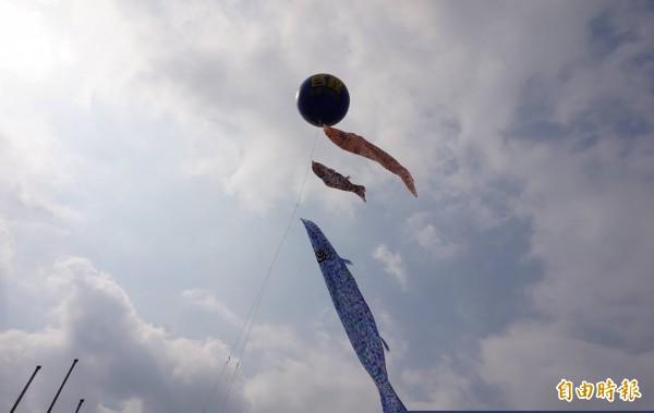 2條10公尺長的鯉魚旗,於今日升空。(記者林敬倫攝)