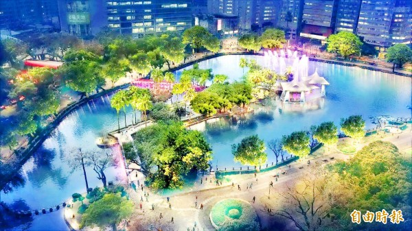 An artist's rendition of Rihyue Lake in Taichung Park shows what it would look like with new colorful LED lights. Photo: Chang Ching-ya, Taipei Times
