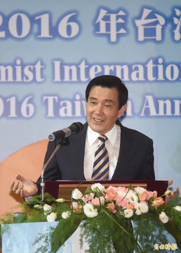 馬英九表示,台灣從未退出聯合國,只是失去代表權。(記者廖耀東攝)