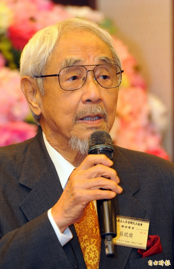 IC設計公司偉詮電(2436)榮譽董事長、對日本外交頗有貢獻的挺綠大老蔡焜燦,今天早上約5點過世,享耆壽92歲。(資料照,記者王敏為攝)