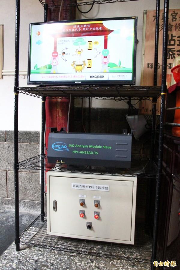 六興宮內裝設PM2.5監測儀。(記者林宜樟攝)