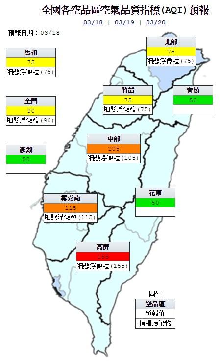 今天中部、雲嘉南地區為橘色提醒(對敏感族群不健康),高屏地區為紅色警示(對所有族群不健康),其他地區為良好到普通等級。(圖片取自環保署空氣品質監測網)
