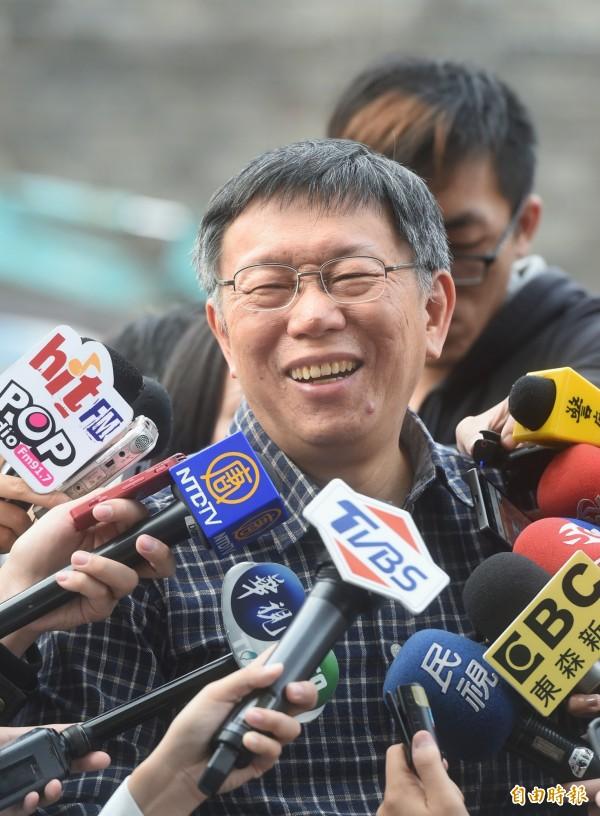 台北市長柯文哲則以50%的滿意度名列第三,聲勢有回溫跡象。(資料照,記者方賓照攝)