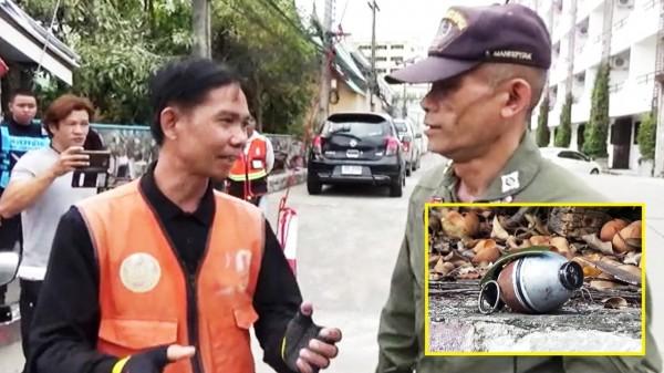 泰國一民英勇的機車載客業者帕薩(左),徒手將歹徒扔的手榴彈撿起。(圖擷自泰國日報)