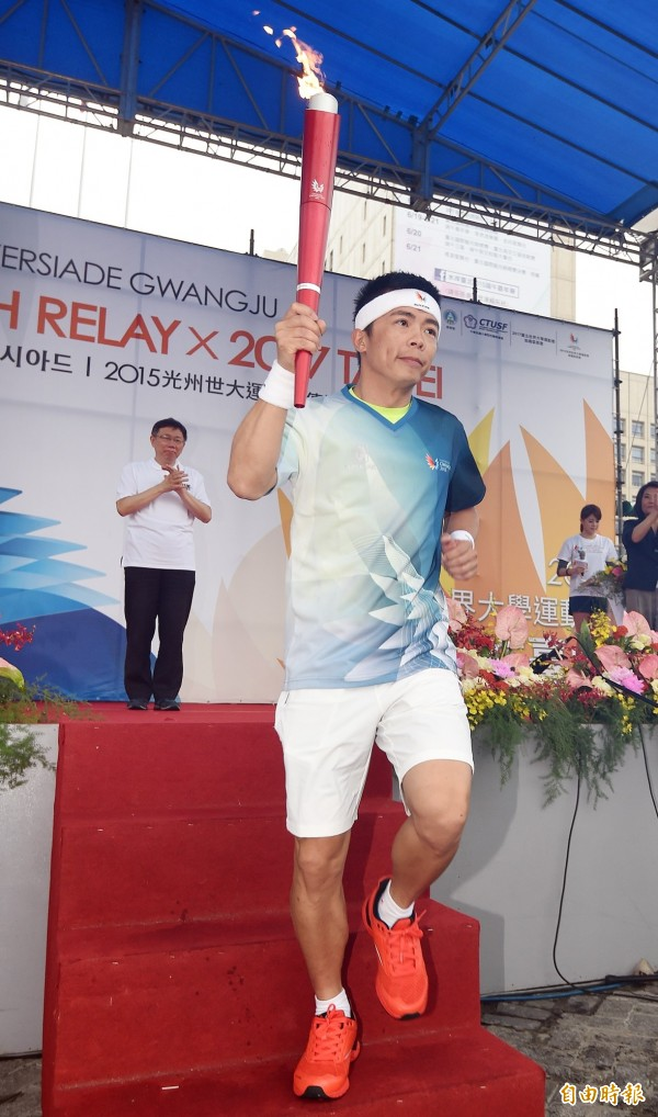 林義傑在2015年時,曾出席光州世大運籌委會聖火傳遞台北站活動。(資料照,記者廖振輝攝)