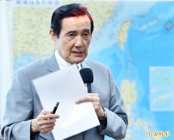 前總統馬英九14日出席東吳大學嚴家淦法學講座,以「南海風雲」為題發表演說。(記者廖振輝攝)