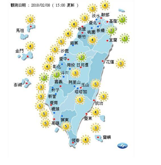 今天各地紫外線指數。(圖取自氣象局)