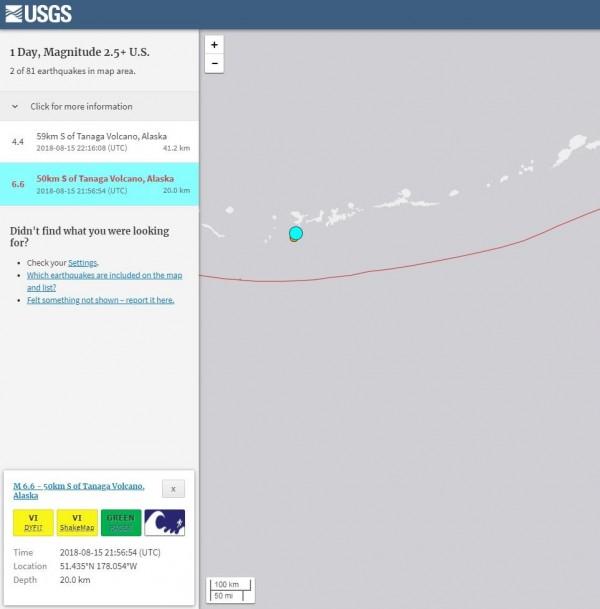 美阿拉斯加塔納加火山規模6.6強震 無發布海嘯警報