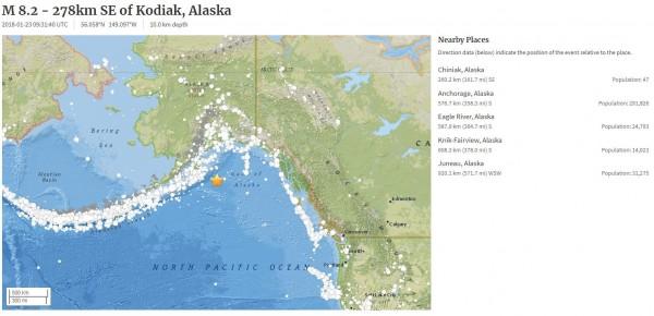 阿拉斯加外海稍早發生強震。(圖擷取自USGS)