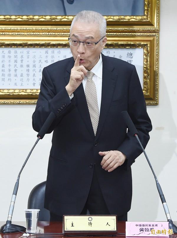 國民黨主席吳敦義(見圖),曾在2008年7月上簽呈給接替馬擔任黨主席的吳伯雄,表達對中影交易的擔憂。(資料照)