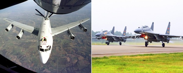 An undated combination of photos shows the US Air Force WC-135W Constant Phoenix aircraft during flight, left, and two Chinese SU-30 fighter jets taking off. Photo: AP
