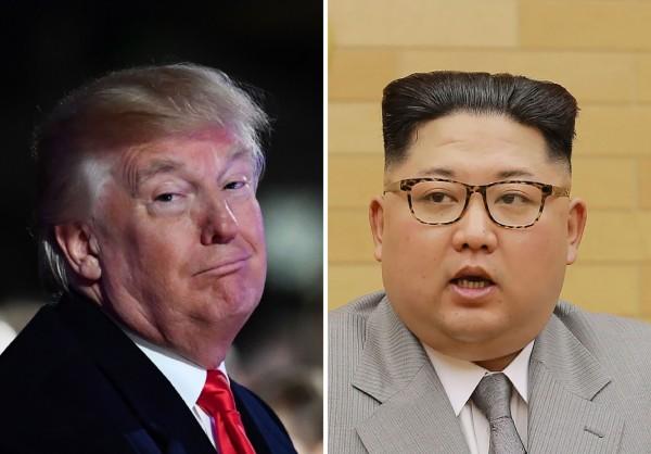 美國總統川普(左)今天接受媒體訪問時表示,他可能會與北韓領導人金正恩(右)發展出非常好的關係,但他拒絕透露是否已經和金正恩接觸過。(法新社資料照)