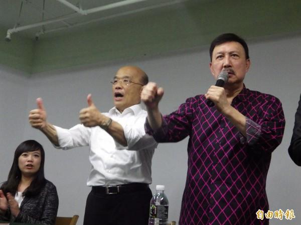 代表民进党参选新北市长的苏贞昌今天下午至民进党新北市党部和民进党各选区议员会面,主委余天也到场欢迎。(记者陈心瑜摄)