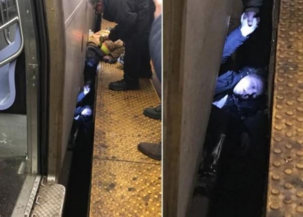布可突然昏厥落軌,卡在列車和月台間隙,令在場乘客緊張。(圖翻攝自The New York Post)