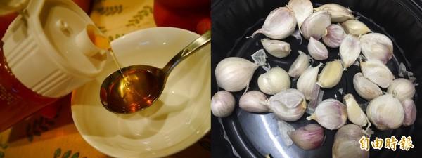 近期內出現謠言「蜂蜜和大蒜不可以同時吃」,食藥署呼籲民眾,沒有科學根據的傳言,「不要隨便輕易相信」。(本報合成)