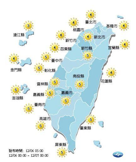 今日紫外線概況。(圖擷自中央氣象局)