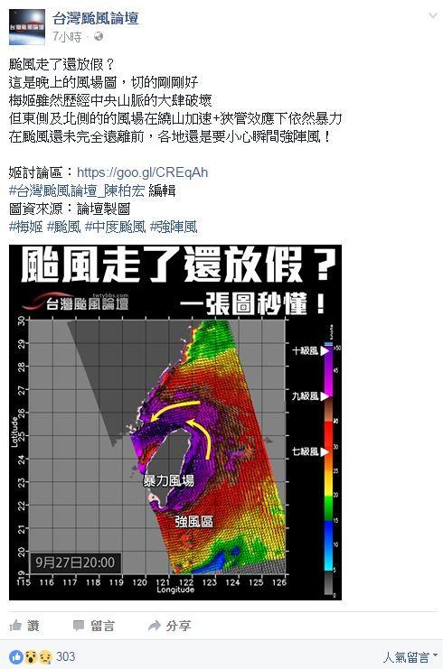 「台灣颱風論壇」臉書貼文寫到「在颱風還未完全遠離前,各地還是要小心瞬間強陣風!」(圖截自台灣颱風論壇臉書)