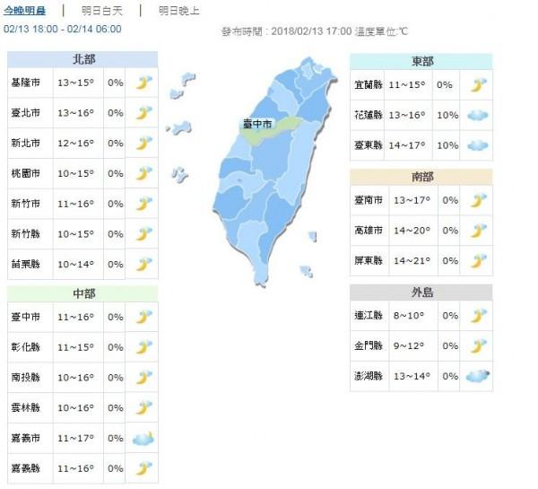 今晚至明晨天氣預報。(圖擷取自中央氣象局)