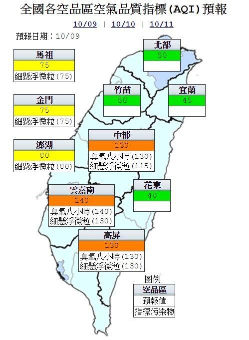 明日中南部地區空氣品質為橘色提醒(對敏感族群不健康),其他地區及外島為良好等級。(圖擷自行政院環保署官網)