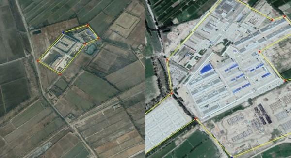 新疆維吾爾集中營間諜照曝光,從2017年2月到2018年8月規模擴大了11倍之多。(圖擷取自推特)