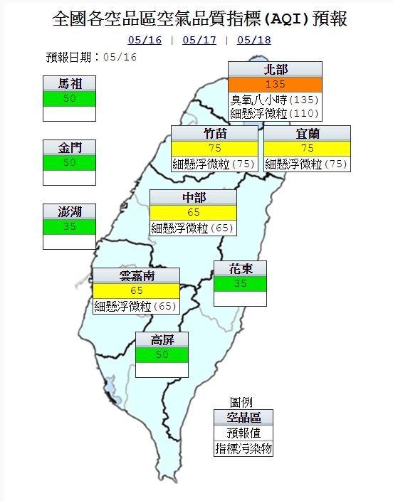 環保署則對明日的空氣品質作出預測,數據顯示北部地區會因臭氧影響,空氣品質呈現「對敏感族群不健康」的橙色警戒。(圖擷取自環保署)