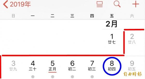 2019年春節國假未包含2月8日(初四),故當天彈性放假,但必須補班課。(本報製圖)
