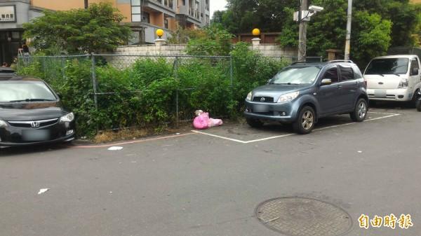 竹東鎮杞林路一處髒亂點,民眾對警告牌子視若無睹,清潔隊昨天才清除乾淨,今天又出現垃圾。(記者廖雪茹攝)