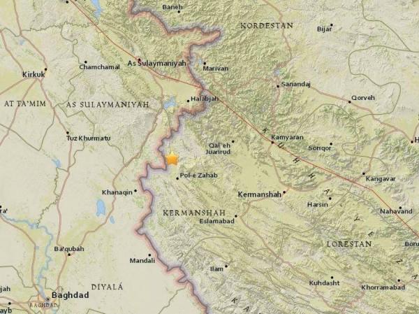 伊朗發生規模5.1地震。圖中標示星號。(取自網路)