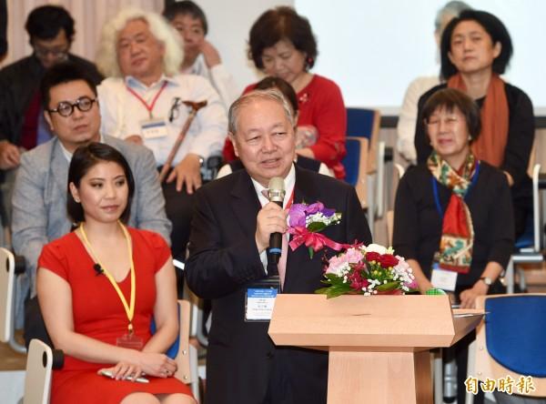 台灣大學次震宇宙館落成啟用,捐贈者、廣達副董事長梁次震27日出席啟用典禮。(記者羅沛德攝)