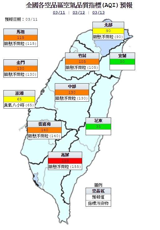 明空品預報,高屏為「紅色警示」等級;竹苗、中部、雲嘉南、馬祖及金門為「橘色提醒」等級;北部、澎湖為「普通」等級;宜蘭、花東為「良好」等級(圖擷自環保署官網)