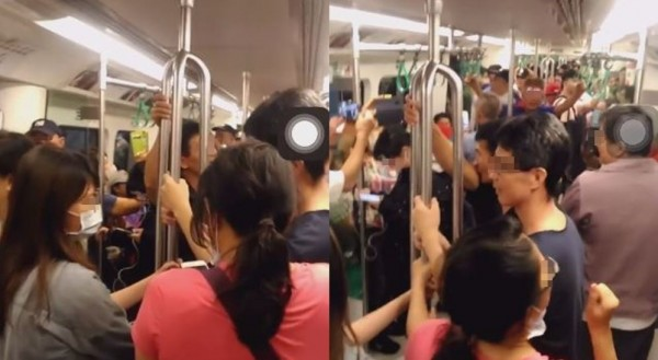 韓國瑜粉絲在高雄捷運車廂內唱軍歌《夜襲》,被批擾民。(圖擷取自影片)